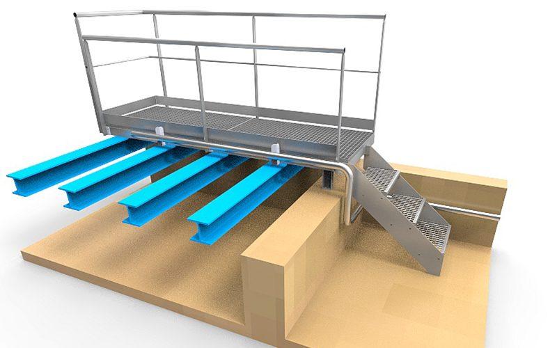 Plateforme caillebois + escalier accès hélium