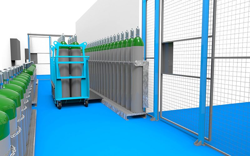 Aménagement zone de stockage – Thalès chariot + grille